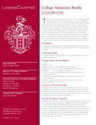 College Admission Profile 2008–09 - The Loomis Chaffee School