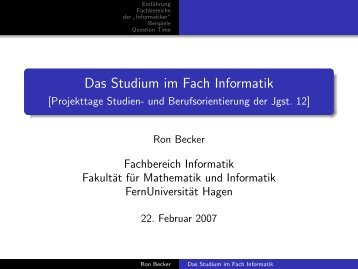 Das Studium im Fach Informatik - FernUniversität in Hagen
