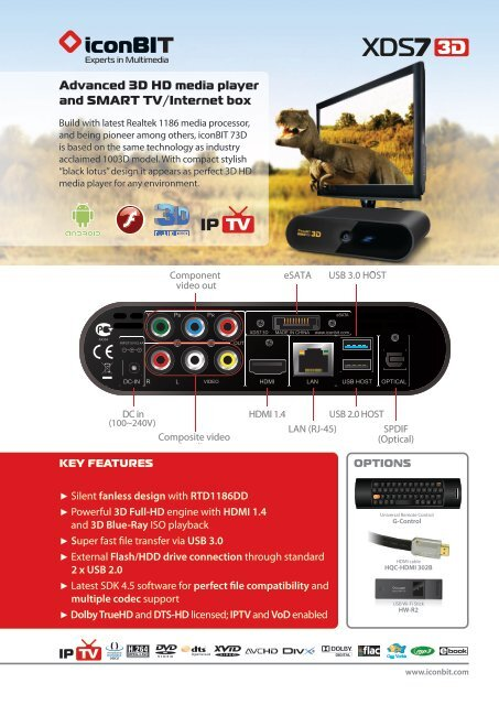 Advanced 3D HD media player and SMART TV/Internet box - iconBIT