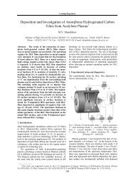 Deposition and Investigation of Amorphous Hydrogenated Carbon ...
