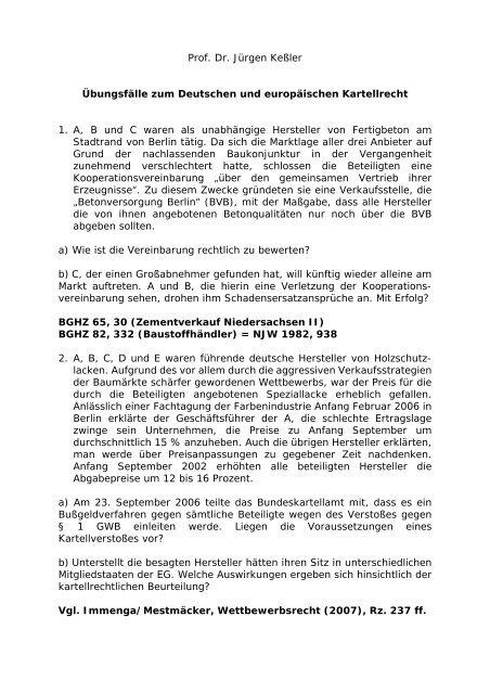 Prof. Dr. Jürgen Keßler Übungsfälle zum Deutschen und ...