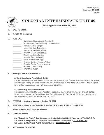 December 14, 2011 - Colonial Intermediate Unit 20