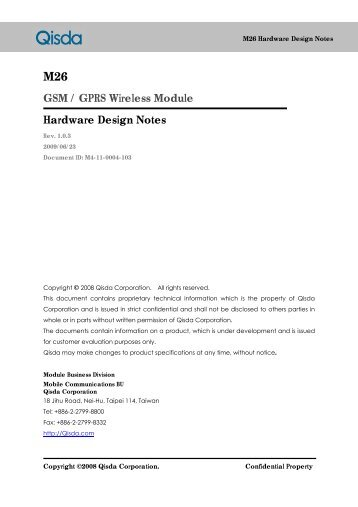 M26 GSM / GPRS Wireless Module Hardware Design Notes - wless.ru