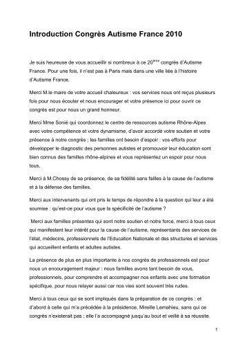 Discours d'introduction de Danièle Langloys - Autisme France