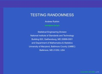 TESTING RANDOMNESS - Department of Mathematics and Statistics