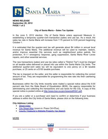 Sales Tax Update - City of Santa Maria