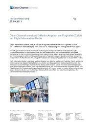 Clear Channel erweitert E-Media-Angebot am Flughafen Zürich mit ...