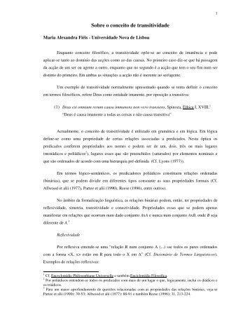 Sobre o conceito de transitividade - Centro de Linguística da ...