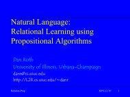 Natural Language: Relational Learning Using ... - Dan Roth