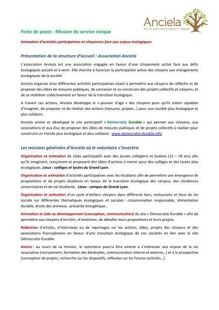 Fiche De Poste Mission De Service Civique Loire Solidaires