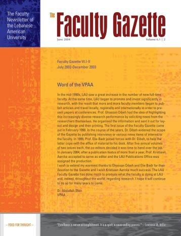 The Faculty Gazette - Lebanese American University