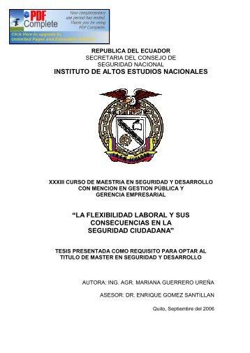 """instituto de altos estudios nacionales """"la flexibilidad laboral y sus ..."""