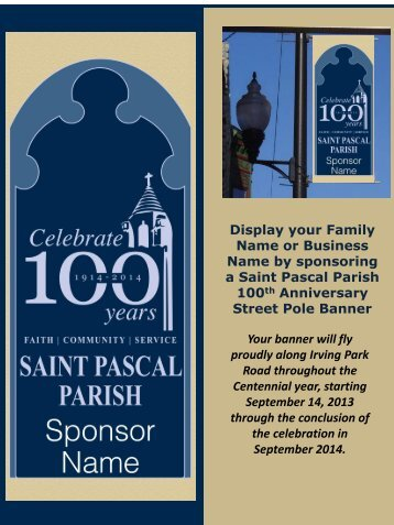Display your Family Name or Business Name by sponsoring a Saint ...