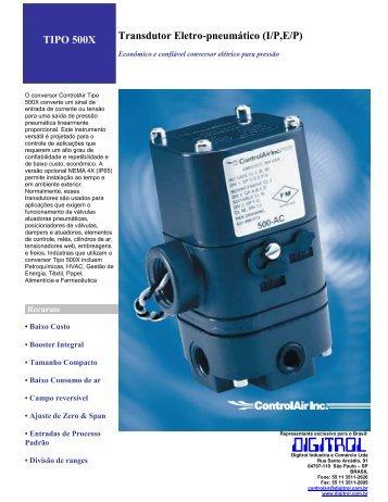 TIPO 500X Transdutor Eletro-pneumático (I/P,E/P) - Digitrol