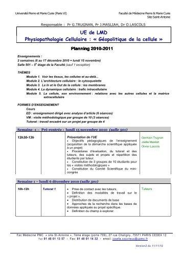 Programme - Faculté de médecine Saint-Antoine - Université Pierre ...