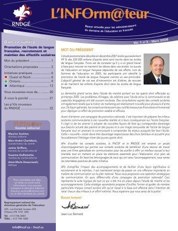 l'INFOrm@teur - Volume 1, numéro 3, mars 2008 - FNCSF