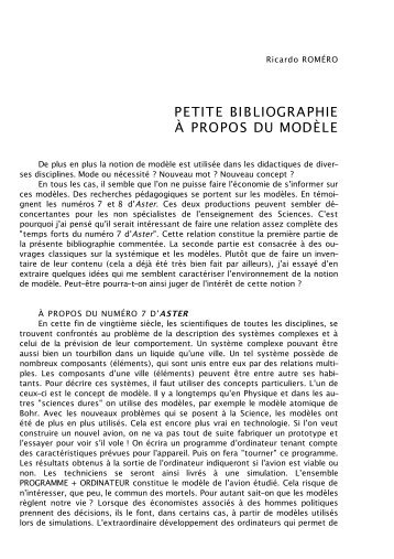 Petite bibliographie à propos du modèle - SPIRALE revue de ...