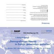 """""""Demografischen Wandel in Europa gemeinsam gestalten"""""""