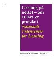 Læsning på nettet – om at lave et projekt i Nationalt Videncenter for ...