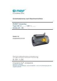 ROBA-linearstop Type 381.___.0 Größe 40 - 80 (B.381.1.DE) - Mayr