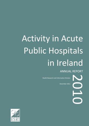 Activity in acute public hospitals, 2010 - ESRI