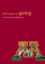 2012 report on giving - University of Minnesota Foundation