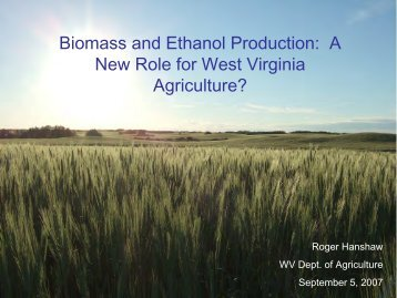Biomass and Ethanol Production - West Virginia Department of ...