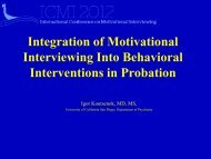 Integration of Motivational Interviewing Into Behavioral Interventions ...