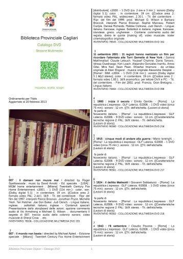 Catalogo completo [file .pdf] - Biblioteca Provinciale di Cagliari