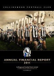 ANNUAL FINANCIAL REPORT 2011 - Collingwood Football Club