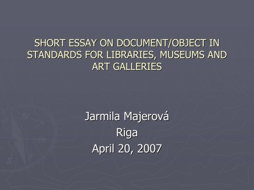 short essay on document/object in standards for libraries ... - Academia