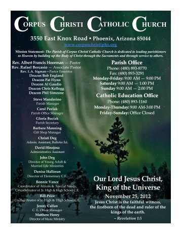 Our Lord Jesus Christ, King of the Universe November 25, 2012
