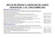 revue de presse la depeche de tahiti semaine du 3 au 7 ...