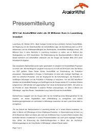 DE - 2012 hat ArcelorMittal mehr als 30 Millionen Euro in ... - RTL.lu