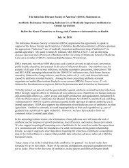 IDSA Testimony on Antibiotic Resistance and Use of Antibiotics in ...