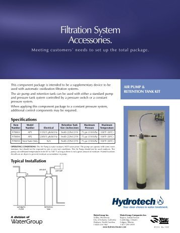 Filtration System Accessories. - Hydrotech
