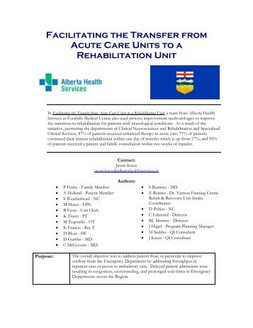 Facilitating the Transfer from Acute Care Units to a ... - ACAHO