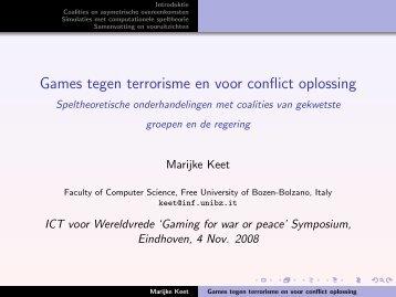 Games tegen terrorisme en voor conflict oplossing ... - of Maria Keet
