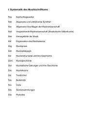I. Systematik des Musikschrifttums - Staatliche Hochschule für Musik ...