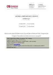 Relazione sul secondo punto all'ordine del giorno dell ... - DADA