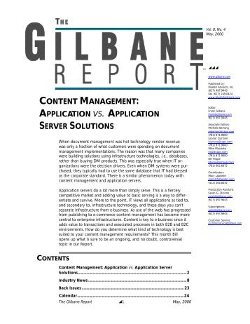 Content Management: Application vs. Application ... - Gilbane Report