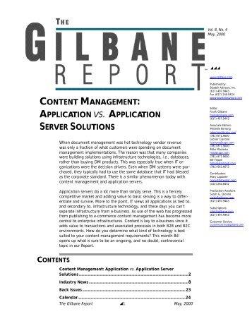 Content Management: Application vs. Application ... - Gilbane Report
