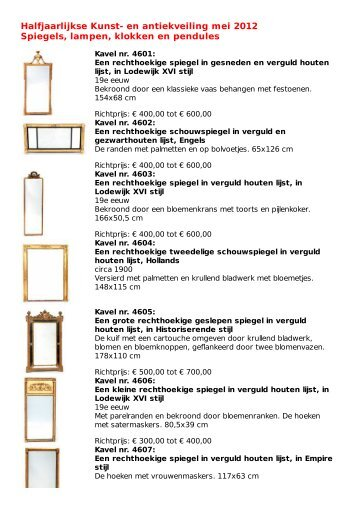 Najaarsveiling Kunst Antiek En Juwelen November 2012 Spiegels