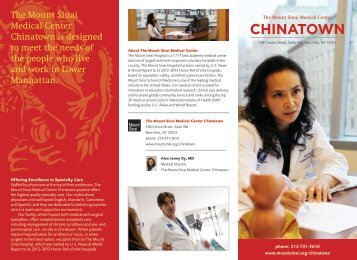 CHINATOWN - Mount Sinai Hospital