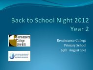 Year 2 Back to School Night 2012 Presentation - Renaissance College