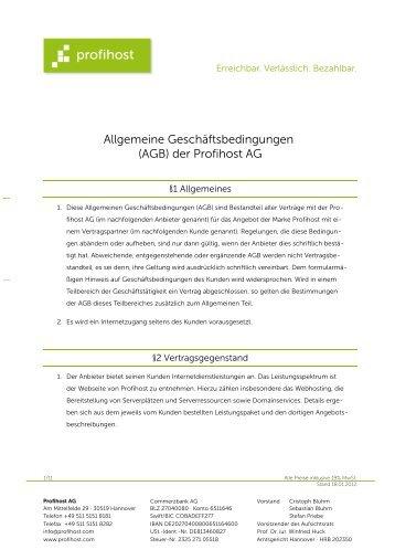 AGB gültig vom 18.1.2012 bis 26.2.2013 - Profihost AG