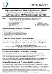 Einbauanleitung zu Elektro-Einbausatz 749485 VW ... - Kfzpoint
