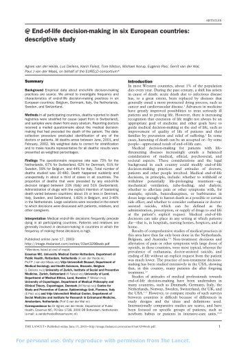 end of life decisions essay End-of-life decisions college essay writing service prior to completing this discussion, please read the american psychological association's ethical principles of psychologists and code of conduct (links to an external site)links to an external site(2010) and fact sheet on end-of-life care (links to an external site)links to an.