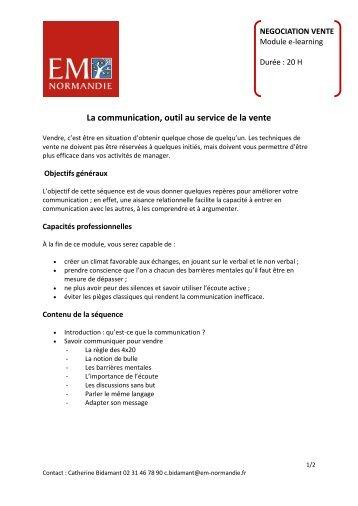 La communication, outil au service de la vente - EM Normandie