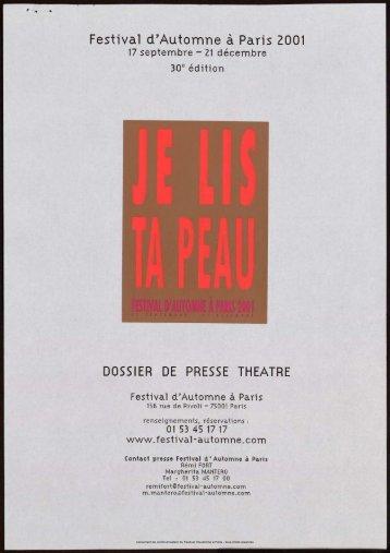 Dossier de presse - Festival d'automne à Paris